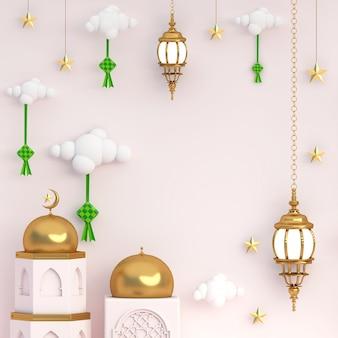 3d conceito islâmico ramadan ouro