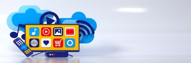 3d conceito smart iptv tv box led tela de menu remoto transmite informações através da nuvem