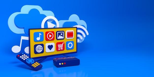 3d conceito smart tv box led menu tela nuvem remota ilustração 3d