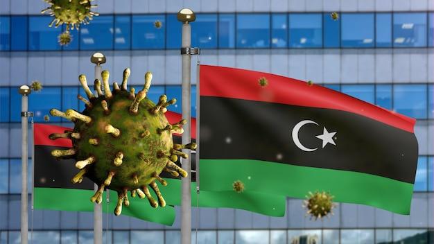 3d, coronavírus da gripe flutuando sobre a bandeira da líbia com a cidade de arranha-céus modernos. bandeira da líbia acenando com a pandemia do conceito de infecção do vírus covid19. estandarte de textura de tecido real