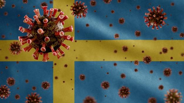 3d, coronavírus da gripe flutuando sobre a bandeira da suécia, um patógeno que ataca o trato respiratório. modelo sueco acenando com a pandemia do conceito de infecção do vírus covid19