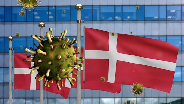 3d, coronavírus da gripe flutuando sobre a bandeira dinamarquesa com a cidade moderna de arranha-céus. bandeira da dinamarca acenando com a pandemia do conceito de infecção do vírus covid19. estandarte de textura de tecido real