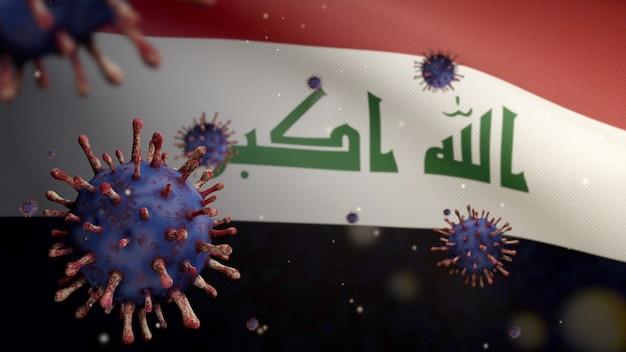 3d, coronavírus da gripe flutuando sobre a bandeira do iraque, um patógeno que ataca o trato respiratório. bandeira do iraque acenando com a pandemia do conceito de infecção do vírus covid19. estandarte de textura de tecido real