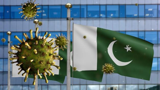 3d, coronavírus da gripe flutuando sobre a bandeira do paquistão com a cidade moderna de arranha-céus. bandeira do paquistão acenando com a pandemia do conceito de infecção do vírus covid19. estandarte de textura de tecido real