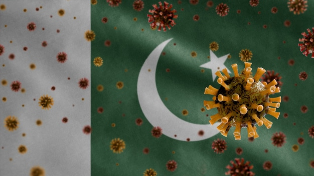 3d, coronavírus da gripe flutuando sobre a bandeira do paquistão, um patógeno que ataca o trato respiratório. modelo do paquistão acenando com a pandemia do conceito de infecção do vírus covid19