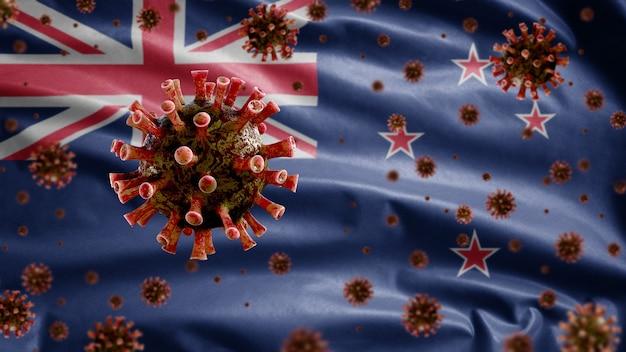 3d, coronavírus da gripe flutuando sobre a bandeira neozelandesa, um patógeno que ataca o trato respiratório. modelo da nova zelândia acenando com a pandemia do conceito de infecção do vírus covid19