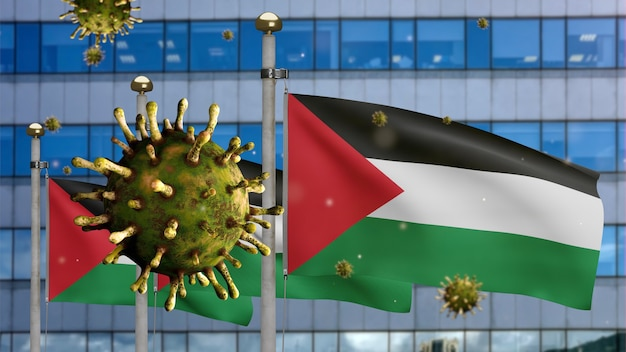 3d, coronavírus da gripe flutuando sobre a bandeira palestina com a cidade de arranha-céus modernos. bandeira da palestina acenando com a pandemia do conceito de infecção do vírus covid19. estandarte de textura de tecido real