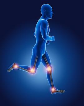 3d correndo homem médico