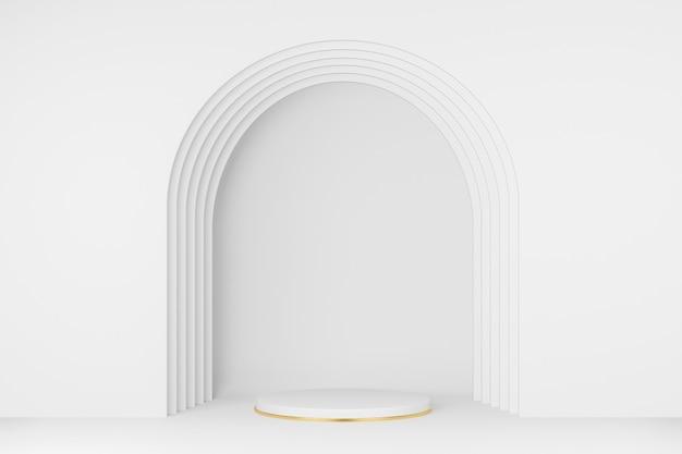 3d da cor branca do pódio do círculo com borda dourada, moldura da porta. vitrine para marcas de produtos e produtos cosméticos. apresentação do produto mínima.