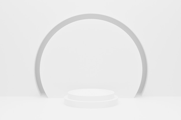 3d da cor branca do pódio do círculo com moldura circular.