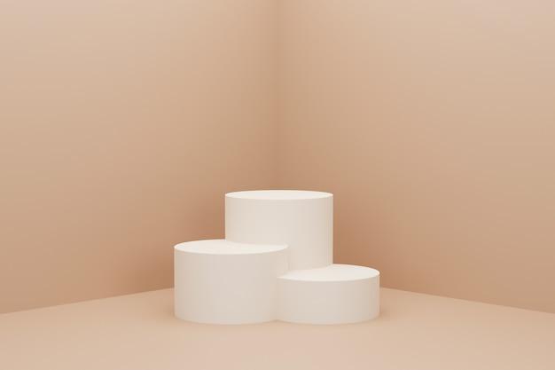 3d da cor pastel marrom do pódio do círculo com três classificações.