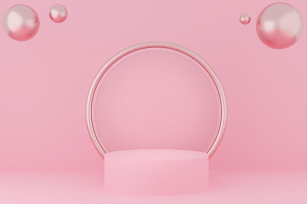 3d da cor pastel rosa do pódio do círculo com espelho e esfera rosa ouro.