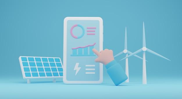 3d da energia renovável illustration.renewable energy com app de análise de eletricidade. renderização 3d