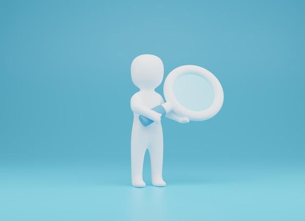 3d da pessoa trazem magnifier.searching ilustração 3d. renderização 3d
