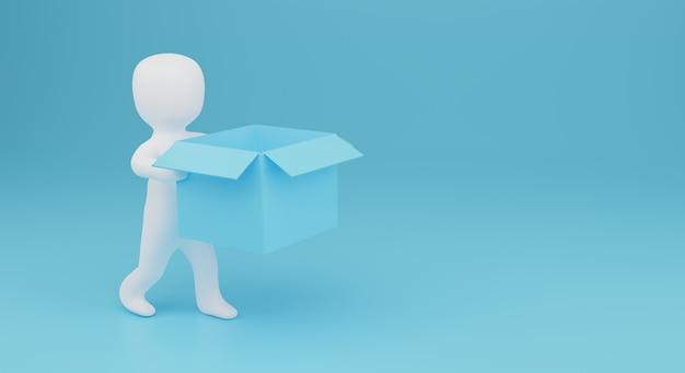 3d da pessoa trazem uma caixa vazia. ilustração 3d. renderização 3d