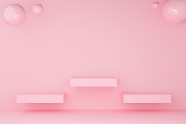 3d de cor pastel rosa pódio quadrado com três esferas de classificação.