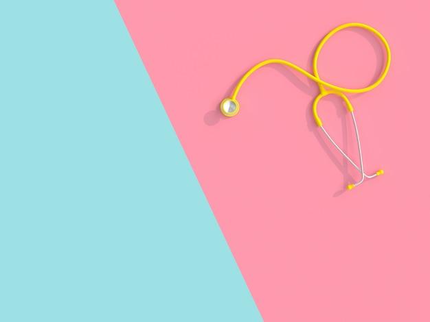 3d de um estetoscópio amarelo em um fundo cor-de-rosa e azul.