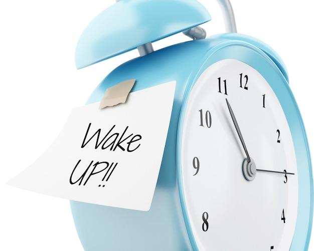 3d despertador com papel colante escrito