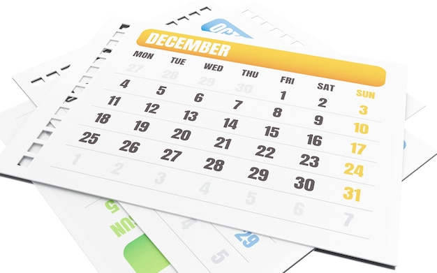 3d dezembro mês rasgar o calendário