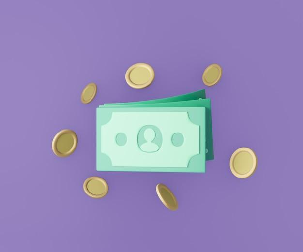 3d dinheiro notas e moedas em fundo roxo. estilo de desenho animado. ilustração de renderização 3d.