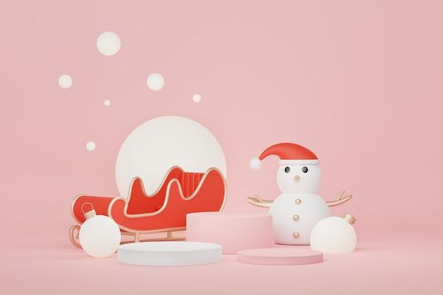 3d display podium para apresentação de produtos e cosméticos com conceito de natal e feliz ano novo