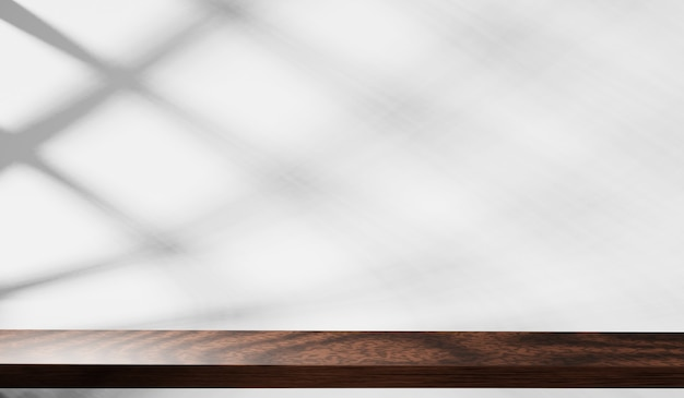 3d do tampo da mesa de madeira com sombra no fundo da parede branca. para exibição de produtos de montagem.