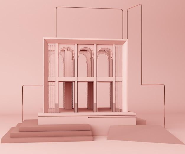 3d edifício rosa