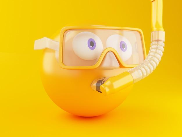3d emoji com mergulho autônomo.