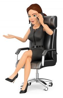 3d empresária sentado em seu escritório, falando no celular