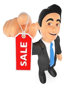 3d empresário mostrando uma etiqueta com a palavra venda