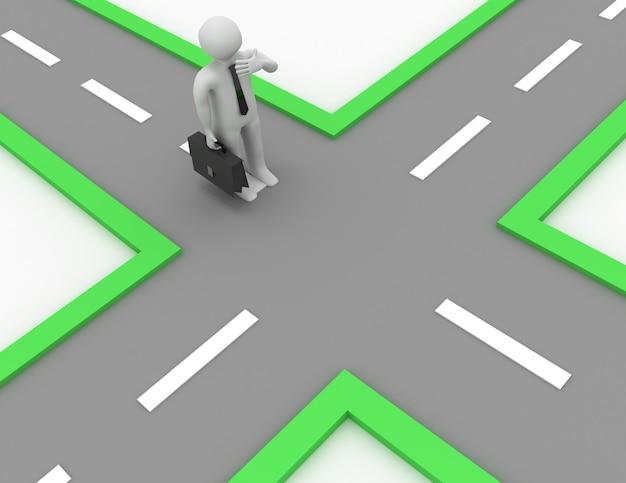 3d empresário querendo saber o caminho certo