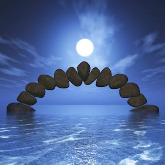 3d equilibrando a formação rochosa no oceano contra um céu do por do sol