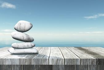 3D, equilibrando os seixos em uma mesa de madeira, olhando para o oceano
