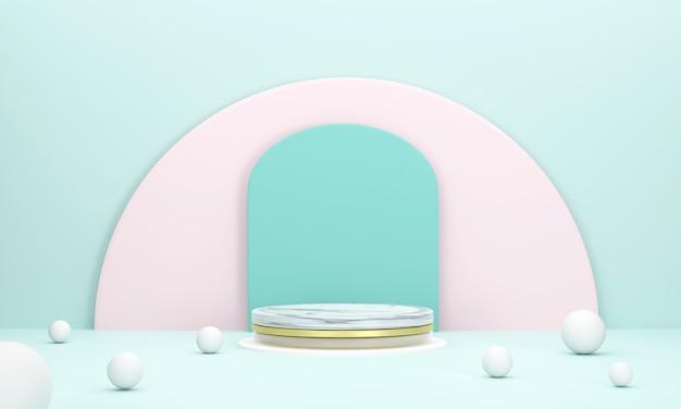 3d. estágio do produto mármore círculo pódio cenário semicírculo em cor pastel para apresentação do produto.