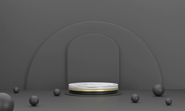 3d. estágio do produto mármore círculo pódio cenário semicírculo na cor preta para apresentação do produto.