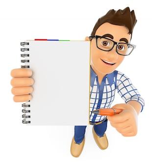 3d estudante com um bloco de notas em branco e uma caneta