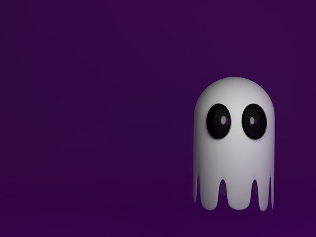 3d fantasma fofo em fundo roxo