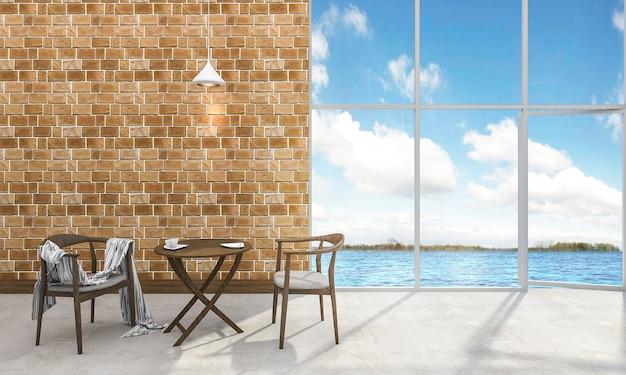 3d, fazendo, bonito, contemporâneo, chá, tabela, e, cadeira, perto, a, mar