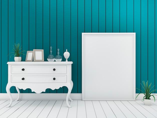 3d, fazendo, mínimo, parede verde, sala de estar, com, vindima, mobília, e, frame retrato