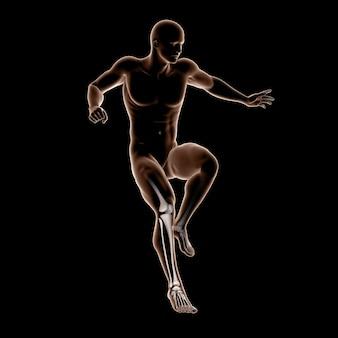 3d figura médica masculina pulando com ossos da perna em destaque