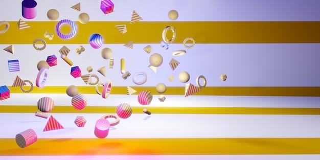 3d formas geométricas divertidas e coloridas ilustração 3d