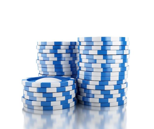 3d grande pilha de fichas de casino azul
