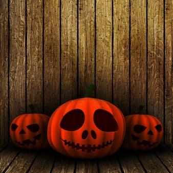 3d grunge halloween jack o lanternas em um fundo de madeira