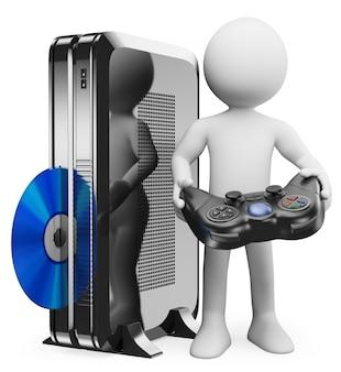 3d homem branco com console de videogame