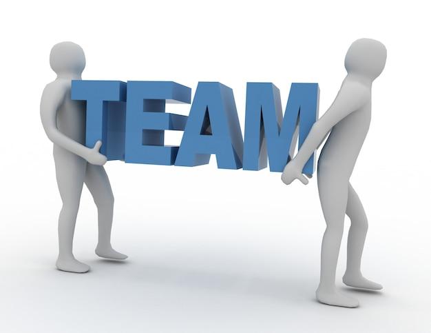 3d homem carrega palavra, texto, equipe. conceito de equipe