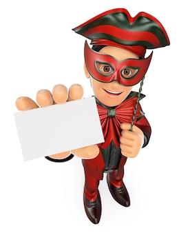 3d homem com uma fantasia de carnaval, mostrando um cartão em branco