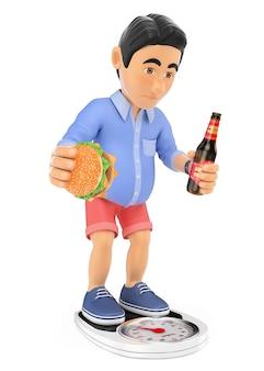 3d homem de short com excesso de peso após o verão