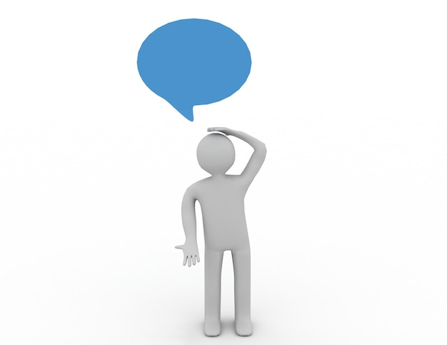 3d homem pensando com balão de fala