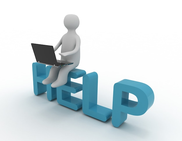 3d homem sentado com um laptop na palavra ajudar.