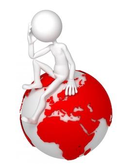 3d homem sentado no globo da terra em uma pose pensativa.